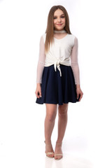 Navy Blue Skater Skirt and Ivory Top Set