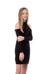 Black Fitted Long Sleeve Halter Dress in Longer Length