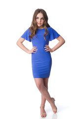 Periwinkle Blue Flutter Sleeve Knotted Back Dress in Longer Length