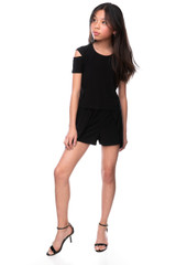 Tween Girls Black Short Sleeve Cold Shoulder Top