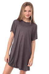 Tween Girls Oversized T-Shirt in Charcoal