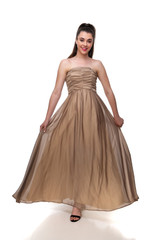 Junior Girls Gold Chiffon Long Ruched Gown