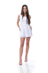 Tween Girls White Smocked Romper with Knotted Straps