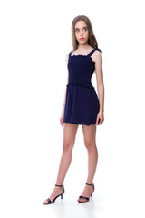 Tween Girls Navy Smocked Romper with Knotted Straps