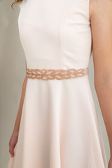 Tween Girls Blush Pink Beaded Elastic Belt.