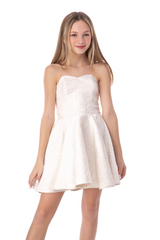 Junior Girls Ivory Floral Party Dress in Longer Length.