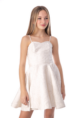 Junior Girls Ivory Floral Party Dress in Longer Length with straps.