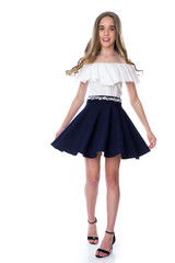 Tween Girls Navy Stripe Skater Skirt in Longer Length