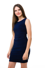Tween Girls Navy Ruched Fitted Dress in Longer Length close shot of side ruch detailing.