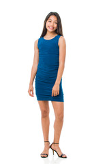 Full view of the Tween Girls Teal Ruched Fitted Dress in Longer Length
