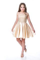 Sequin and Satin Party Dress in Gold