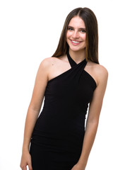 Tween Girls Black Halter Dress in Longer Length close up of halter top.
