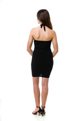 Tween Girls Black Halter Dress in Longer Length back view backless.