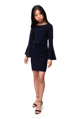 Tween Girls Navy Bell Sleeve Dress in Longer Length full length shot.