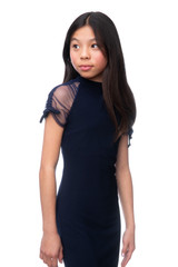 Tween Girls Navy Mesh Sleeve Fitted Dress in Longer Length close up detailing.