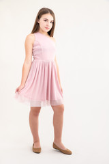 Tween Girls Pink Glitter One-Shoulder Skater Dress in Longer Length  full view.