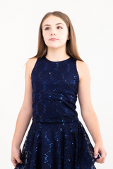 Tween Girls Navy Sequin Lace Top close up view.