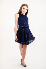 Tween Girls Navy Sequin Lace Skater Skirt full length view of soft sequins fabric.