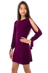 Tween Girls Long Sleeve Dress with Knot Detail in Plum front view.