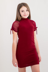 Tween Girls Burgundy Mesh Ruched Dress in Longer Length close up view.