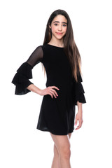 Tween Girls Black Fitted Bell Sleeve Dress in Longer Length front view.