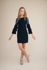 Navy Tiered Sleeve Dress in Longer Length.