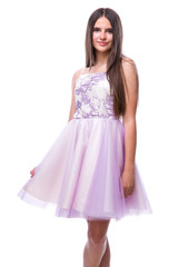 Tween Girls Lilac Tulle Party Dress in Longer Length frontal view.