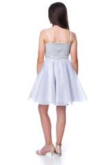 Back view of the Tween Girls Silver Sequin Tulle Party Dress in Longer Length.