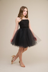 Black Lace Sequin Tulle Party Dress in Longer Length.