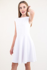 Tween Girls White Textured Cap Sleeve Dress in Longer Length front view.