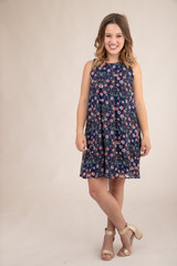 Tween Girls Navy Floral Chiffon A Line Dress front view.