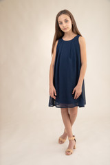Chiffon A Line Dress in Navy.