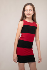 Red and Black Color-Block Fitted Dress