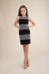 Tween Girls Charcoal and Black Color-Block Fitted Dress