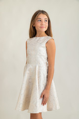 Tween Girls Ivory and Silver Cap Sleeve Dress in Longer Length.