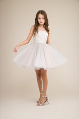 Ivory and Silver Tulle Party Dress in Longer Length.