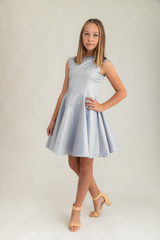 Tween Girls Navy and Gold Jacquard Cap Sleeve Dress in Longer Length.