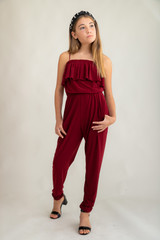 Tween Girls Burgundy Tiered Jumpsuit.