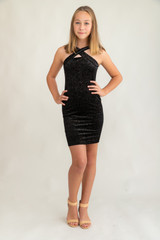 Tween Girls X-Front Fitted Velvet Glitter Dress in Longer Length.