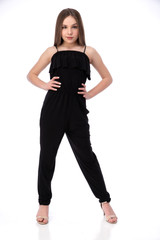 Tween Girls Black Solid Tiered Jumpsuit