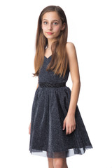 Tween Girls Black Glitter Party Dress in Longer Length close up view with belt.