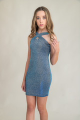 Tween Girls X-Front Fitted Blue Glitter Dress in Longer Length front.