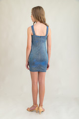 Tween Girls X-Front Fitted Blue Glitter Dress in Longer Length back view.