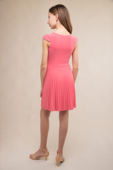 Cap Sleeve Coral Pleated Dress