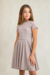 Tween Girls Champagne Glitter Short Sleeve Dress in Longer Length