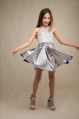 Silver Pleather Skater Skirt in Longer Length