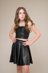 Black Pleather Skater Skirt in Longer Length.