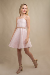 Blush Pink Jacquard Party Dress in Longer Length with belt.