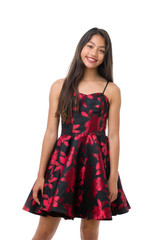 Junior Girls Red Rose Jacquard Party Dress in Longer Length with straps.