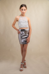 Silver Pleather Pencil Skirt.